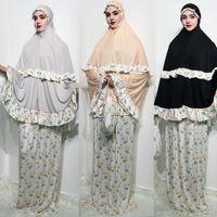 Resmi Müslüman Namaz Giysi Khimar Etek Seti Kadınlar Başörtüsü Elbise Abaya Jilbab İslam Giyim Dubai Namaz Musulman Jurken Abayas1
