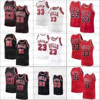 2021 A jersey de basquete 23 Michael 33 Pippen 91 Rodman Homens Mulheres Juventude Branco Preto Vermelho