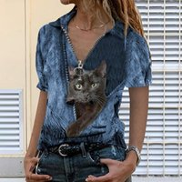 Women's T-Shirt 40# Harajuku T Shirt Women Streetwear Top Tee Cat Print Sexy V Neck Short Sleeve Female Summer Casual Tshirt Zipper