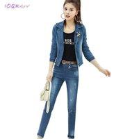 Bahar Ceket Kadınlar İki Parçalı Set Moda Denim Kadın Hediye Kemer Korsaj 2 Adet Zarif Top IOQRCJV T74 Kadın Eşofman