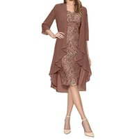 Women Dress Fashion Two Pieces Charming Solid Color Mother of The Bride Lace es Female Autumn Winter Plus Size M840# 210529