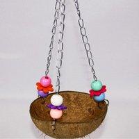 Kuş papağan hindistan cevizi kabuğu salıncak yuvaları tel kafes asılı çiğneme oyuncak komik zincir pet malzemeleri kafesleri