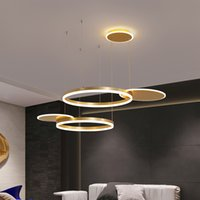 Modern Led Chandelier Lamp For Living Room Bedroom Dining Aluminum Ring Indoor Pendant lights Lighting AC 90-265V