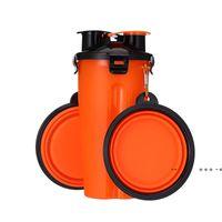 휴대용 마시는 병 및 물 병 접는 애완 동물을위한 두 개의 음식 컵 그릇 접는 개 그릇 야외 동반 컵 seaway ewf10495