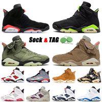 Yüksek Kalite 2021 Basketbol Ayakkabı 6 6 S VI Siyah Kızılötesi Elektrikli Yeşil Erkek Kadınlar Jumpman Kaktüs Jack İngiliz Haki Retro Eğitmenler Sneakers 36-47