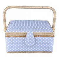Storage Baskets Sewing Basket Cotton Craft Box Needle Thread Polka Dot Fabric Crafts Household Accessories