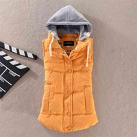Plus Size 6XL Women Vest Winter Coat Ladies Gilet Colete Feminino Casual Pocket Hooded Waistcoat Female Sleeveless Jacket 210913