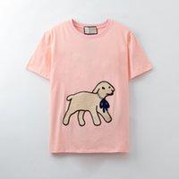2021ss tops 100% algodão 3 cor mulheres homens t-shirt de precisão bordado cachorro bonito cachorro camisa camisetas tamanho s-xxl