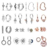 Female 925 Sterling Silver Love Heart Moon Stars Beaded Earrings For Women S925 Charm Original Fashion Jewelry