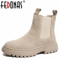 FEDONAS Autumn Winter Basic Women Ankle Boots Cow Suede Concise Working Casual Thick Heels Platforms Round Toe Shoes Woman 211021