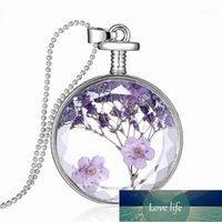 Pendant Necklaces Creative Perfume Bottle Necklace Crystal Wholesale Transparent Real Flower Fashion Jewelry For Women1