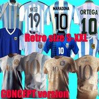 Special 2021 2022 Argentinien-Konzept-Version Fussball Jersey Home Messi Retro Maradona 1986 1978 1996 Fußballhemd 1998 2006 1994 Riquelme Caniggia