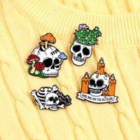 Halloween cogumelo crânio broches cactle liga liga pintar pinos para todos os santos vestuário de roupa mochila anti-luz botão de crachá atacado