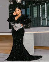 Sexy Deep V Neck Plus Size Evening Dresses Full Sleeves Mermaid Prom Dress For Women Applique Sequin Black Party Gown 2021