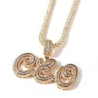 유럽 및 아메리카 hotsale 사용자 정의 목걸이 블링 CZ 다이아몬드 Capsive 편지 펜던트 목걸이 남성 여성을위한 24inch 로프 체인과 좋은 선물