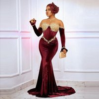 Burgundy Velvet Mermaid Prom Dresses For Arabic Women 2021 Long Seleves Gold Lace Appliques Plus Size Aso Ebi Style Formal Evening Occasion Gowns