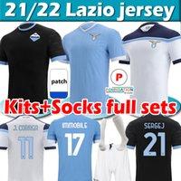 21/22 Lazio Soccer Jerseys Maglie 2021 2022 Immobile Luis Bastos Sergej J.Correa Acerbi Badelj Lucas Marusic Football Uomo Kit Kit + calzini Set completi Camicie da calcio