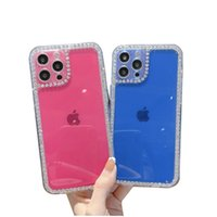 Diamond Cases Transparent Cover Epoxy Acrylic Hard Back Shockproof For iphone13 Promax 12 11 X XR XSMAX 8PLUS 8 7 SamsungA12 A32 4G A52 A72 A02S A03S A22 M32 A02 EU Xiaomi