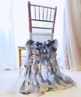 2021 In Stocks Different Colors Wedding Chair Covers Elegant Crystal Taffeta Ruffles Chairs Sashes Decorations Skirts ZJ016