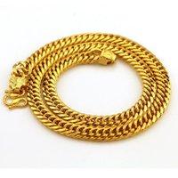 Lujo 24K de oro amarillo collar de hombres 60 cm pulsera gruesa de joyería fina aniversario regalo compromiso cadenas de boda