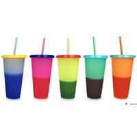 Kreative 24 Unzen Temperaturfarbe Ändern der magischen Tasse wiederverwendbare magische Kaffeetasse Kunststoff Trinkbecher mit Deckel und Stroh 700ml Tassen FWA4982