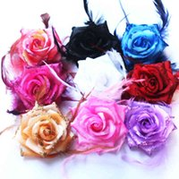 8pcs Rose Headwear Capelli Clip Piuma Rosa Copricapo Partito Spilla Brooch Testa Flower Girl Donne Seno Pin School Kids Dance