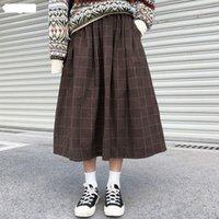 High Elastic Waist Long Skirts Woman 2021 Autumn Winter Plaid A-line Pleated Womens