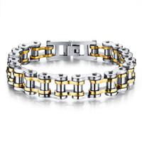 Biker 316L Stainless Steel Mens Bracelet Fashion Sports Jewelry Bike Bicycle Chain Link Bracelet Casual Jewellery 3 Color