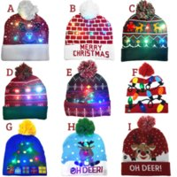 ON SALE! 2022 New Year LED Knitted Christmas Hat Beanie Light Up Illuminate Warm Hat For Kids Adults New Year Christmas Decor Gift