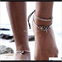 Anklets Vintage pie retro tobillera para mujeres chicas tobillo cadena de pierna encanto estrella beads brazalet fashion beach joyería yjbnr muwnh