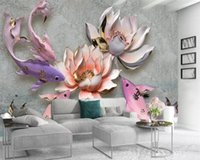 Wallpapers 3d Wallpaper Mural Lucky Fish Delicately Painted Gold Lotus Picture Customize Your Favorite Premium Romantic Silk
