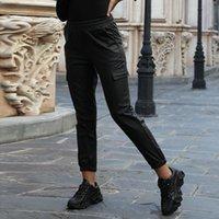 Мода Утолщенные зимние теплые брюки женские сексуальные высокие талии сплошные цвета кожаные узкие грузовые фитнес-бегуры брюки уличные
