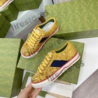 Sneaker İtalya Yeşil ve Kırmızı Web Şerit Tasarımcı Ayakkabı 77 Nakış Baskı Tuval ACE Vintage Tasarımcılar Sneakers Glittering Tenis Rahat Ayakkabı Düşük Üst Lace Up