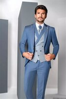 Gorgeous Men Suits Newest 3 Pieces Wedding Tuxedos Custom Made Cotton Handsome Formal Blazer Business Coat+Pant+Vest