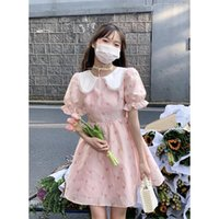 Casual Dresses Summer Will Be After Dinner - Pink Jacquard Girl Sweet Doll Collar Bubble Sleeve Dress