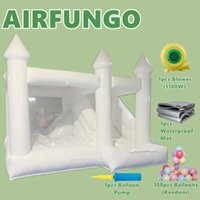 New Arrivals Bouncer House With Slide Outdoor Playhouse Inflatable White Bounce Houses Commercial Wedding Bouncy Castle Air Bouncers Combo For Kids Adults Party