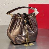 Borsa a secchiello da donna Borsa con scollorato borse borse a tracolla borse a tracolla di alta qualità piccolo tote portafoglio bello acqua serpente pelle di serpente pelle bovina 20cm
