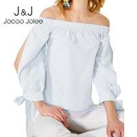 Jocoo Jolee Women Chiffon Blouse Off Onge Hot Up Bow Tops Рубашка Streetwear Plus Размер 5XL Roupas Femininas Женщины Блузки Рубашки