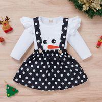 Clothing Sets Toddler Baby Kids Girls Christmas Clothes Xmas Snowman Printed Ruffles T-shirt Tops+ Dot Suspender Skirts Outfits Girl