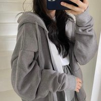 Women's Hoodies & Sweatshirts Korean Style Loose Hooded Long-Sleeved Thin Zipper Solid Color Sweatshirt