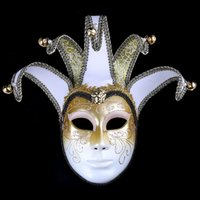 Vintage Style Cosplay Party Masks Gorgeous Bling Pattern Painted Masquerade Supplies Lace Decorated with Bells Plastic Mask for Lady