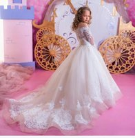 Long Sleeve Flower Girls Dresses For Princess Bridesmaid Weddings Ball Gown Sweep Train Cheap Girl For Wedding First Communion Dresses Party Prom Princess Gown 2021