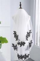 Bridal Veils 2021 Black Lace Two Layers Bride Veil Real Po White Ivory Wedding Accessories Veu De Noiva EE9015