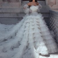 Party Dresses Charming Ball Gown Prom Dress Tiered Puffy Tulle Long Evening Detachable Sleeves Zipper Back Court Train Gowns