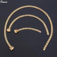Brincos Colar Donia Jewelry Creative Hip-Hop Luxury Zipper conjunto de três pulseira de anel escalável