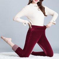 Золотые бархатные повседневные брюки женщины зимние леггинсы среднего возраста толстые теплые брюки женские капризы