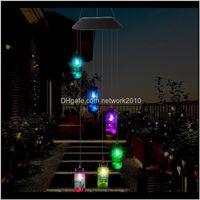 Dekorationen Terrasse, Rasenanzeige Lieferung 2021 LED Solarlicht Outdoor Wind Chimes Lichter Romantische Wishing Flasche Starfish Windbell String Lampe