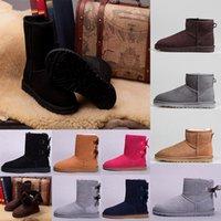 2021 أعلى جودة أستراليا WGG الكلاسيكية طويل القامة الشتاء الأحذية حقيقية الجلود بيلي التمهيد فتاة botte bowknot المرأة bailey القوس أحذية الثلوج