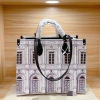 Ontho MM Architettura Tote Black White Fornasetti Business Handtasche Leder Umhängetaschen Italienische Tasche Womens in der Go Luxurys Designer Taschen