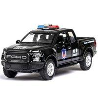 132 Ford F150 Coche de policía Diecasts Vehículos de juguete Modelo de auto Modelo de sonido Colección de luz de sonido Juguetes para niños para niños Regalo de Navidad